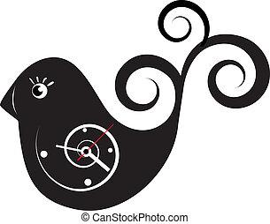 Cute wall clock bird sticker. Vector illustration