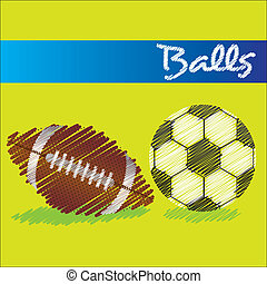 football balls drawing over green background, vector