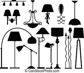 lampe, conception, plancher, plafond, mur