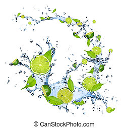 Limes pieces falling in water splash, isolated on white...