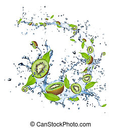 Kiwi pieces falling in water splash, isolated on white...