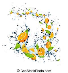 Fresh oranges falling in water splash