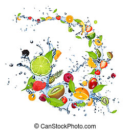 Fresh fruits falling in water splash, isolated on white...