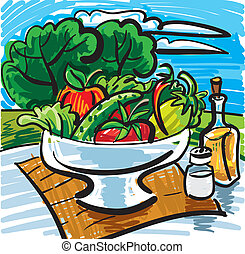 vegetables, fruits and olive oil