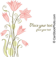 Cute floral card Vector illustration - Abstract cute floral...