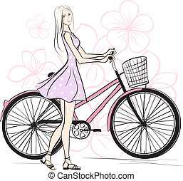 romantic Girl with bicycle. Colorful vector illustration