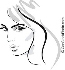 beauty girl face. design elements. Vector Illustration