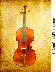 violin on grunge background  - violin on grunge background