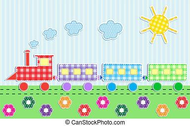Cute cartoon train. Vector textile stickers