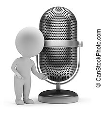 3d small people - retro microphone - 3d small person...