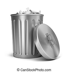 trash can - steel trash can. 3d image. Isolated white...