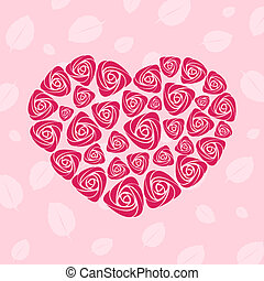 Valentine rose heart card - Valentine vector rose heart card...