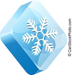 vector ice button - vector ice snowflake button element for...