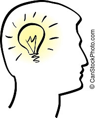illustration of idea bulb in stylized human head