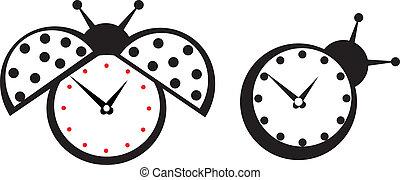 Cute wall clock ladybird sticker.