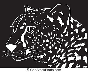 Portrait of a leopard. Vector illustration. Design element.