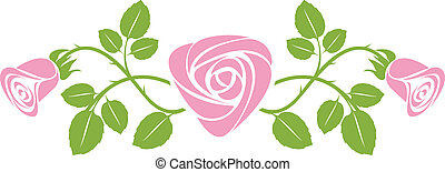 Ornament with roses - vector art ornament with roses