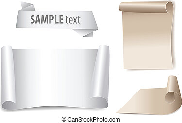 bland paper with page curl, set vector banners