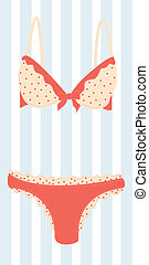 Lingerie - womans cute pink lingerie Colorful vector...