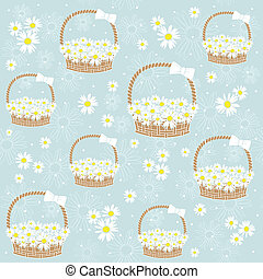 gift basket with Flowers seamless background