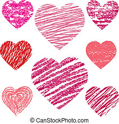 abstract vector hearts set design elements