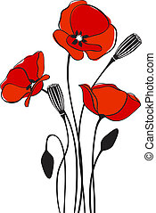 Poppy floral background - abstract floral red poppy card...