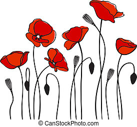 red poppies - abstract floral red poppy card illustration