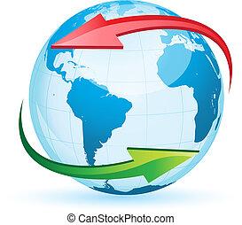 World globe map isolated on white