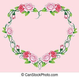 heart roses border art work vector illustration