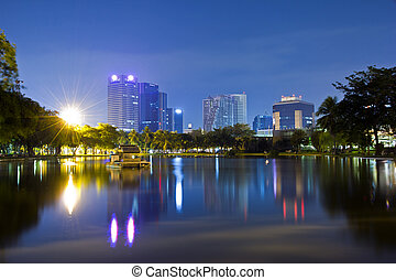 city park - The river and the city park at night