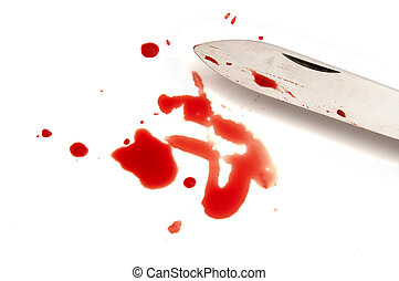 murder weapon - bloody knife on white background, red blood...