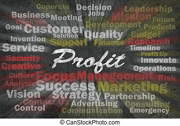 Profit word with business related words on retro background