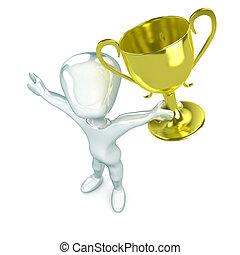Winning Man - A Colourful 3d Renderde Winning Man Concept...