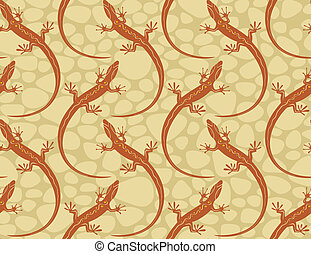 style lizards on a seamless wallpaper pattern. Vector...