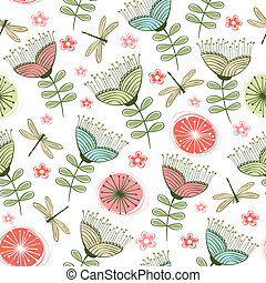 seamless vintage flower pattern line art Vector illustration...