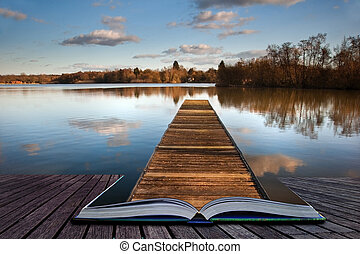 Fishing jetty on lake coing out of magic book pages