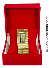 Womens Watch In  Red Box - Womens Golden Watch In Red Box