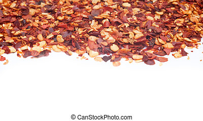 Crushed Chillies on white background