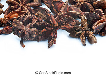 Star Anise herb on white background