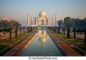 The Taj Mahal - View of the Taj Mahal across the lake at...