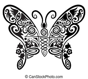 Decorative butterfly - Decorative Butterfly with flowers,...