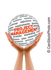 Project Management - Hands holding a Project Management 3d...