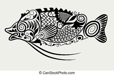 Decorative fish - decorative animal character ornament style