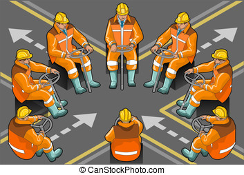 isometric driver foreman at work - Detailed illustration of...