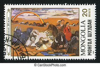 animal - MONGOLIA - CIRCA 1989: stamp printed by Mongolia,...