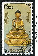 Budda - MONGOLIA - CIRCA 1991: stamp printed by Mongolia,...