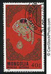 Brooches - MONGOLIA - CIRCA 1987: stamp printed by Mongolia,...