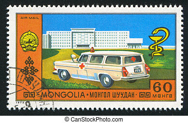 Ambulance - MONGOLIA - CIRCA 1972: stamp printed by...