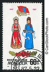 Diplomatic Relations - MONGOLIA - CIRCA 1987: stamp printed...
