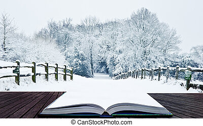 Winter wonderland snow landscape in pages of magic book -...